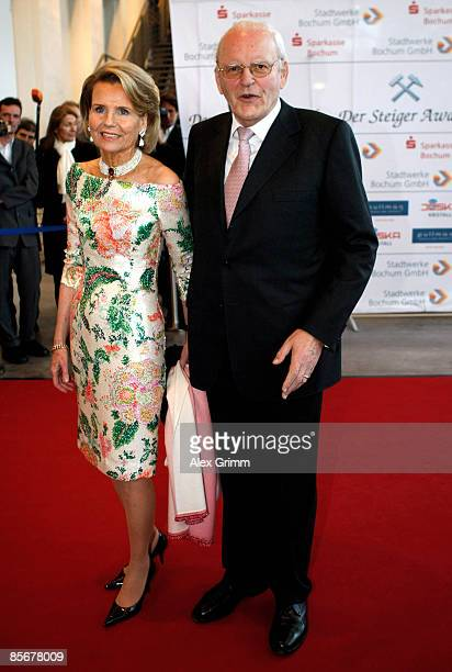 Former German President Roman Herzog and his wife Alexandra Freifrau von Berlichingen pose as they arrive for the Steiger Awards ceremony at the...