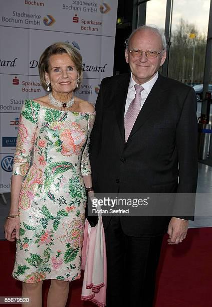 Former German President Roman Herzog and wife Alexandra Freifrau von Berlichingen attends the 'Steiger Awards 2009' at Jahrhunderthalle on March 28...