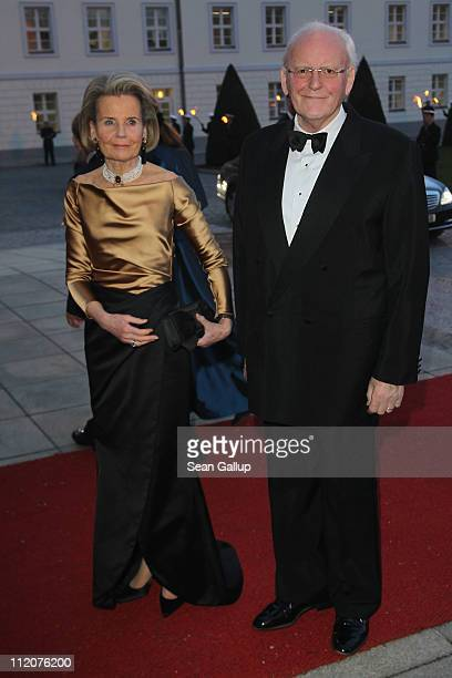 Former German President Roman Herzog and wife Baroness Alexandra von Berlichingen attend a state banquet given in honour of the visiting Dutch royals...