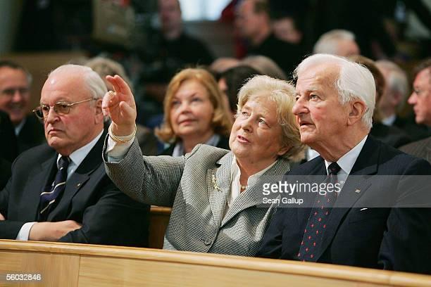 Former German President Roman Herzog Marianne von Weizsaecker and former German President Richard von Weizsaecker attend the opening mass in the...