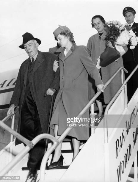 Former German Protector of Bohemia and Moravia Konstantin Von Neurath arrives with his daughter Frau von Mackensen at the airport in Frankfurt after...