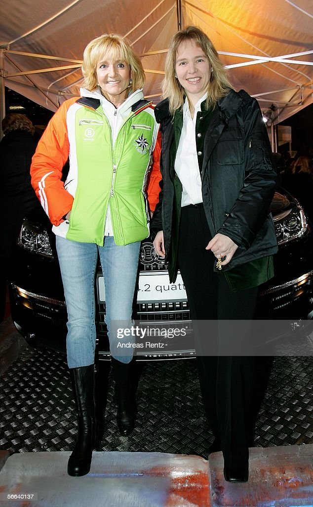 Former german ski stars Christa Kinshofer (L) and Katja Seizinger (R) attend the Audi Night party at the Hotel Tenne on January 20, 2006 in Kitzbuehel, Austria.