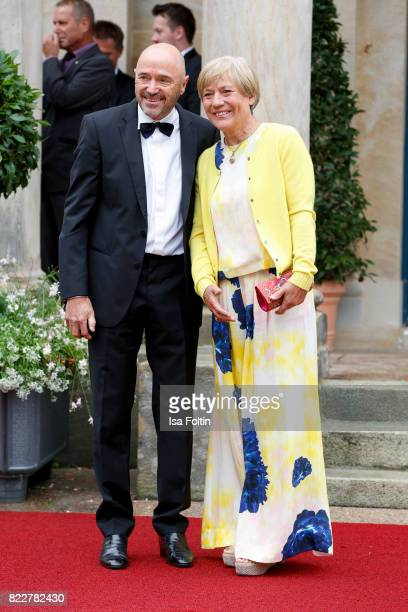 Former German skier Christian Neureuther and his wife former German skier Rosi Mittermaier during the Bayreuth Festival 2017 Opening on July 25 2017...