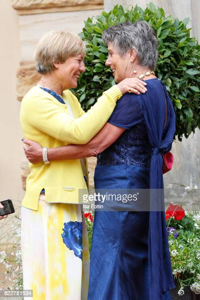 Former German skier Rosi Mittermaier and Mayor of Bayreuth Brigitte MerkErbe attend the Bayreuth Festival 2017 Opening on July 25 2017 in Bayreuth...