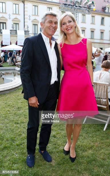 Former German soccer player Klaus Augenthaler and his girlfriend Sandra Kranjc during the Art Garfunkel concert at the Thurn Taxis Castle Festival...