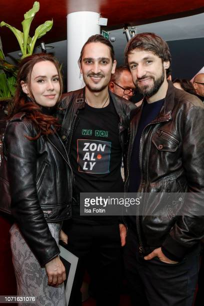 Former German soccer player Thomas Broich and Jerome Polenz alias Tom Jiro and the girlfriend of Thomas Broich during the event 'FechtOlympiasiegerin...