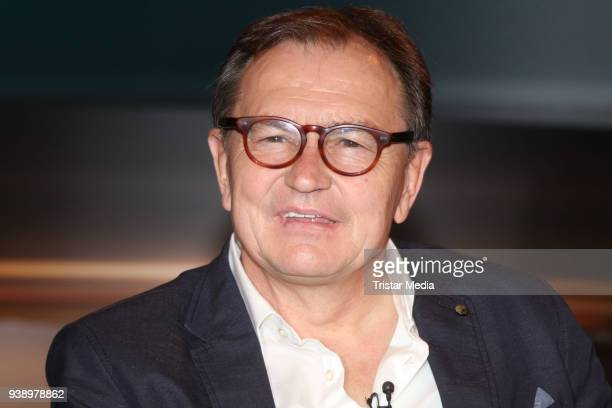 Former German soccer trainer Ewald Lienen during the 'Markus Lanz' TV show on March 27 2018 in Hamburg Germany