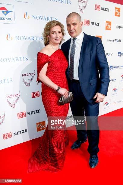 Former German speed skater Olympic gold medalist and award winner Claudia Pechstein and her husband Matthias Grosse attend the annual Victress Awards...