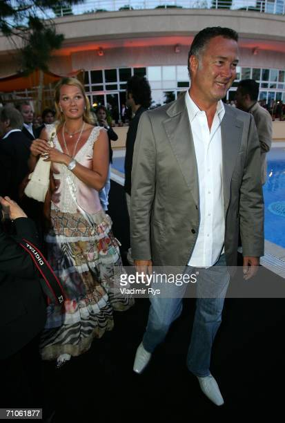 Former German swimmer Franziska van Almsick arrives with her partner Juergen Harder to a charity fashion show under patronate of Tereza Maxova on May...