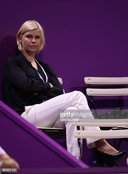 Former German tennis player Anke Huber watches Svetlana Kuznetsova of Russia against Elena Dementieva of Russia in their round robin match during the...