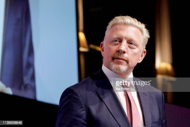 Former German tennis player Boris Becker live on stage during the Gloria Deutscher Kosmetikpreis at Hilton Hotel on March 30 2019 in Duesseldorf...