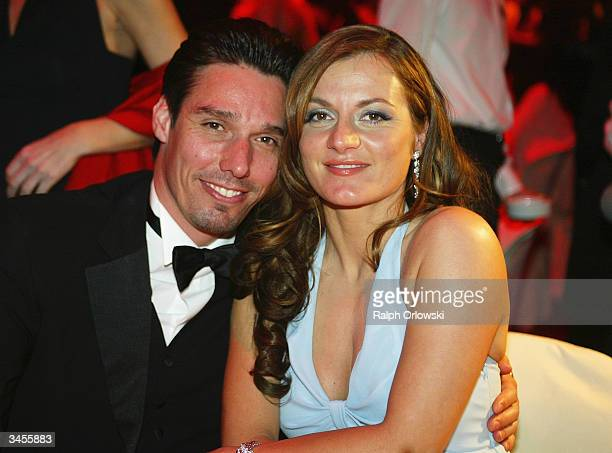 Former German tennis star Michael Stich and his guest Alexandra Rikowski attend a big party to celebrate the 10th anniversary of the German edition...