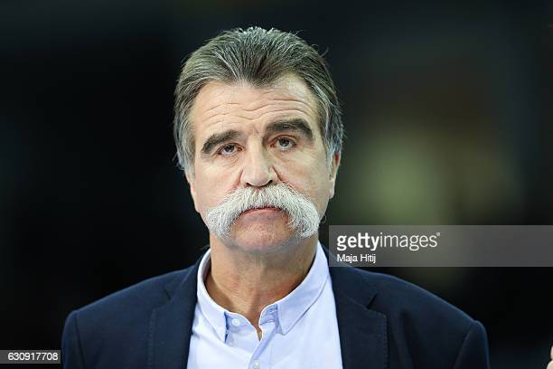 Former Germany head coach Heiner Brand looks on prior the International Handball Friendly match Germany v Romania on January 3 2017 in Krefeld Germany