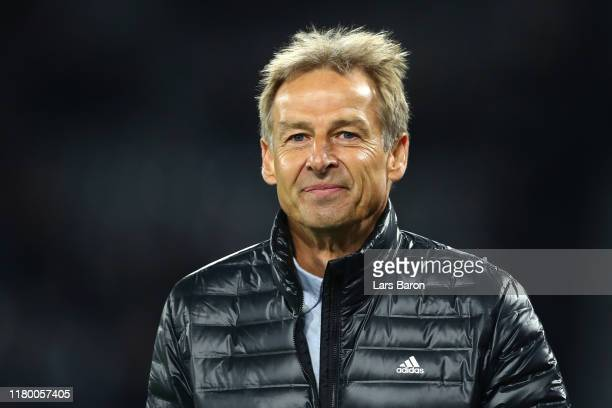 Former Germany manager Jurgen Klinsmann looks on prior to the International Friendly match between Germany and Argentina at Signal Iduna Park on...
