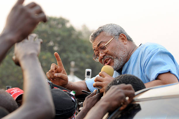 Former Ghanaian military leader and founder of the National Democratic Congress Jerry Rawlings campaigns for votes on January 1 2009 in Tain district...