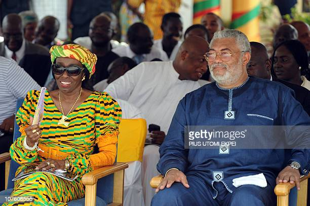 Former Ghanaian President Jerry Rawlings and wife Nana attend a ceremony marking Ghanaian first oil production in Takoradi on December 15 2010 Ghana...