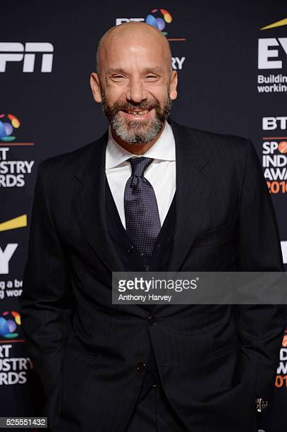 Former Gianluca Vialli poses on the red carpet at the BT Sport Industry Awards 2016 at Battersea Evolution on April 28 2016 in London England The BT...