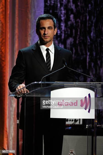 Former GLAAD President Neil Giuliano onstage at the 21st Annual GLAAD Media Awards held at Hyatt Regency Century Plaza Hotel on April 17, 2010 in Los...