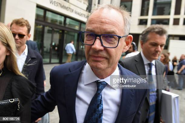Former global cohead of Barclays Finance Richard Boath leaves after an appearance at Westminster Magistrates Court in central London on July 3 2017...