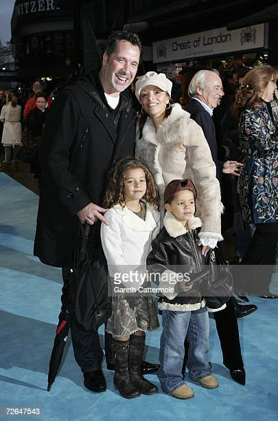 Former goalkeeper David Seaman wife Debbie and their children attend the UK premiere of the movie Happy Feet held at the Empire Leicester Square on...