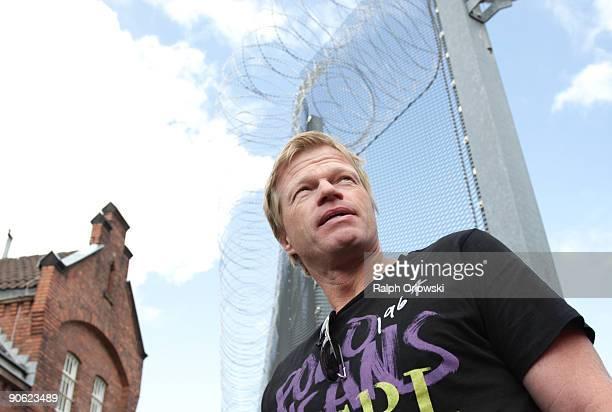Former goalkeeper Oliver Kahn of the German National Team arrives at a prison to visit a football tournament at a prison on September 12 2009 in...