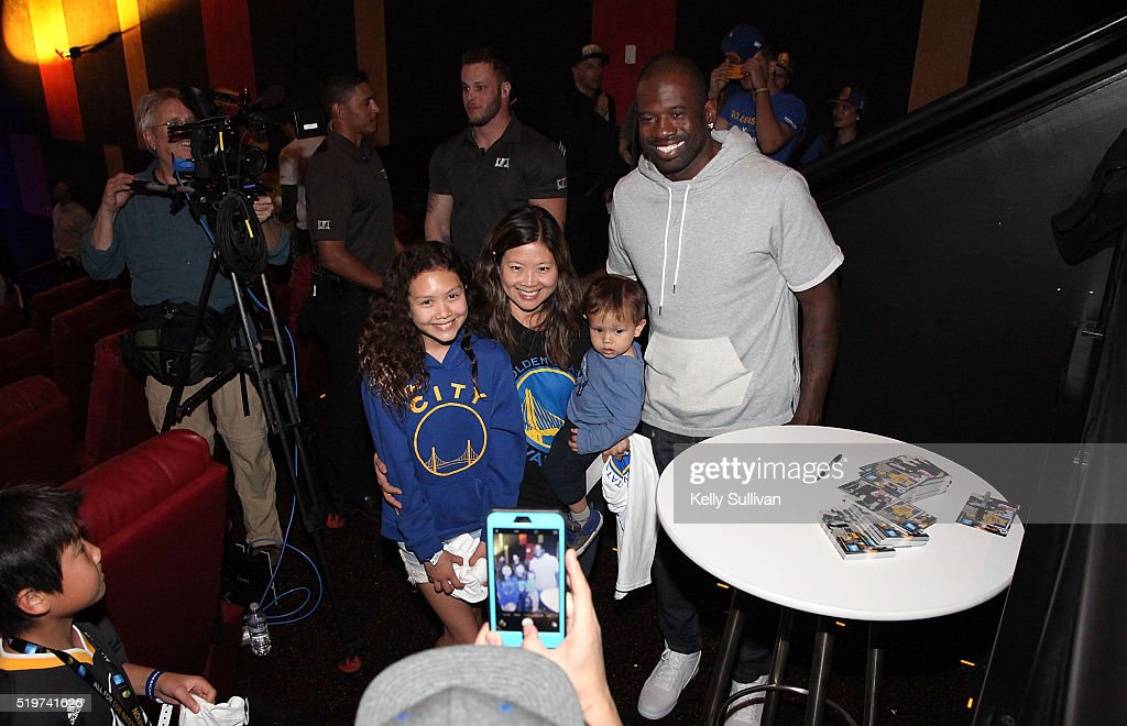 Former Golden State Warriors shooting guard Jason Richardson greets fans during halftime at the American Express Dub Nation To The