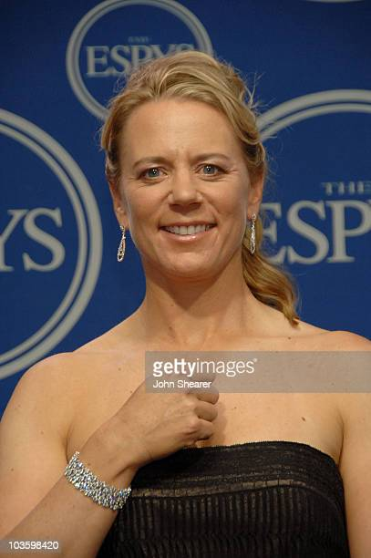 Former golfer Annika Sorenstam poses in the press room at the 2008 ESPY Awards held at NOKIA Theatre LA LIVE on July 16 2008 in Los Angeles...
