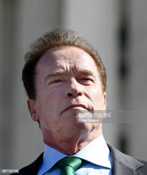 Former Gov Arnold Schwarzenegger RCalif looks on outside of The United States Supreme Court after an oral arguments in Gill v Whitford to call for an...