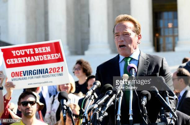 Former Gov Arnold Schwarzenegger RCalif speaks outside of The United States Supreme Court during an oral arguments in Gill v Whitford to call for an...