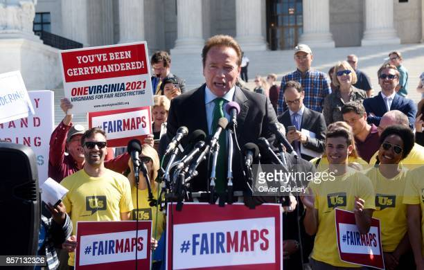 Former Gov Arnold Schwarzenegger RCalif speaks outside of The United States Supreme Court after an oral arguments in Gill v Whitford to call for an...