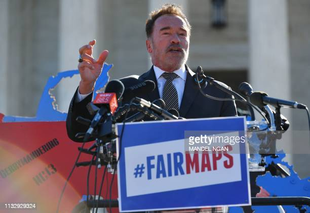Former Gov. Arnold Schwarzenegger, speaks during a rally to coincide with the Supreme Court hearings on the redistricting cases in Maryland and North...