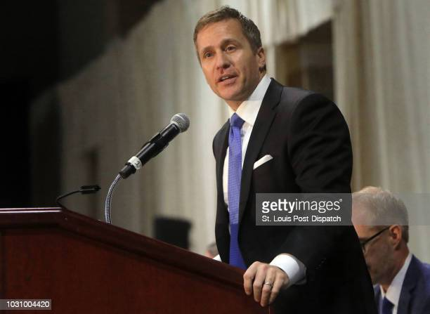 Former Gov. Eric Greitens delivers the keynote address at the St. Louis Area Police Chiefs Association 27th Annual Police Officer Memorial Prayer...