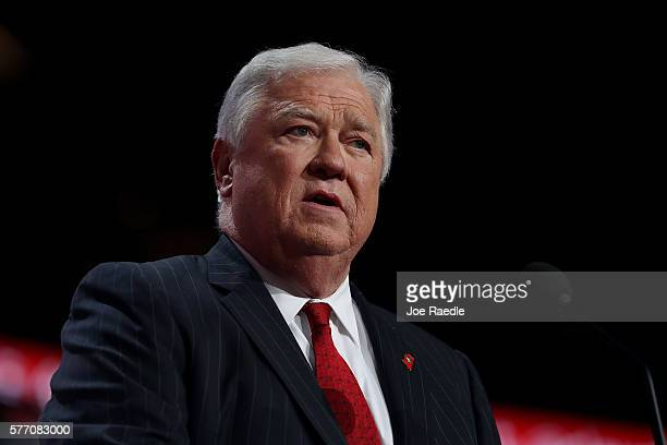 Former Gov Haley Barbour speaks during the first day of the Republican National Convention on July 18 2016 at the Quicken Loans Arena in Cleveland...