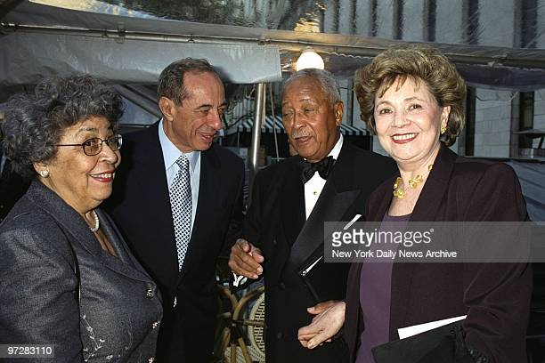 Former Gov Mario Cuomo and former Mayor David Dinkins get together with their wives Joyce Dinkins and Matilda Cuomo at the Bryant Park Grill Dinkins...