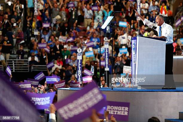 Former Gov Martin O'Malley delivers remarks on the third day of the Democratic National Convention at the Wells Fargo Center July 27 2016 in...