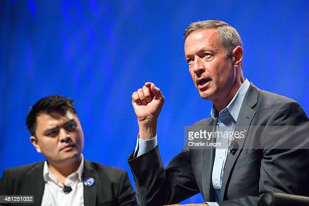 Former Gov Martin O'Malley speaks of his commitments at the Netroots Nation 2015 Presidential Town Hall with moderator Jose Antonio Vargas at the...