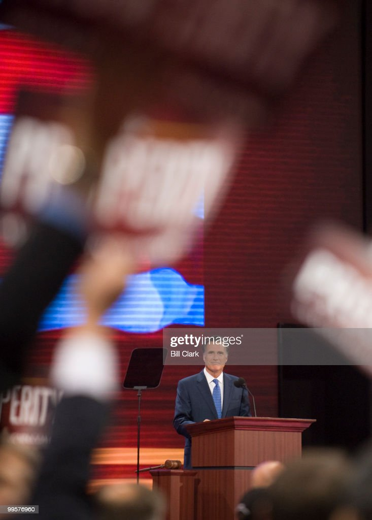 Former Gov. Mitt Romney speaks on the floor of the Republican National Convention at the Xcel Center in St. Paul, Minn., on Wednesday, Sept. 3, 2008.