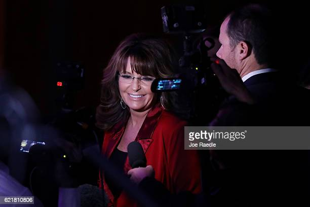 Former Gov Sarah Palin attends Republican presidential nominee Donald Trump's election night event at the New York Hilton Midtown on November 8 2016...