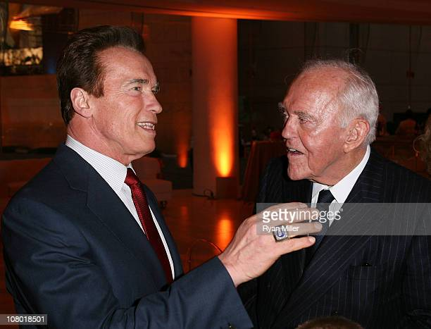 Former Govenor Arnold Schwartzenegger congratulates Founding Chairman Henry Segerstrom at the Orange County Perfroming Arts Center's renaming...