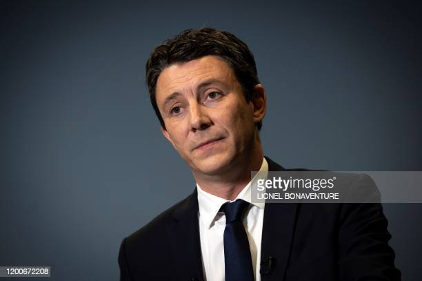 Former government spokesperson and La Republique en Marche candidate for the upcoming Paris 2020 mayoral election Benjamin Griveaux is pictured as he...