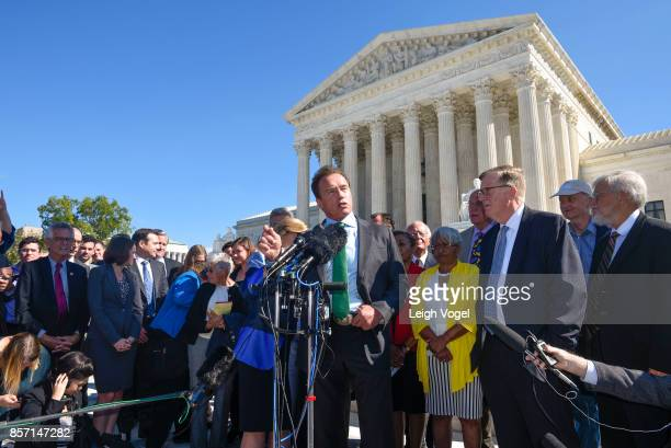 Former Governor Arnold Schwarzenegger speaks during a rally to call for 'An End to Partisan gerrymandering' at the Supreme Court of the United States...