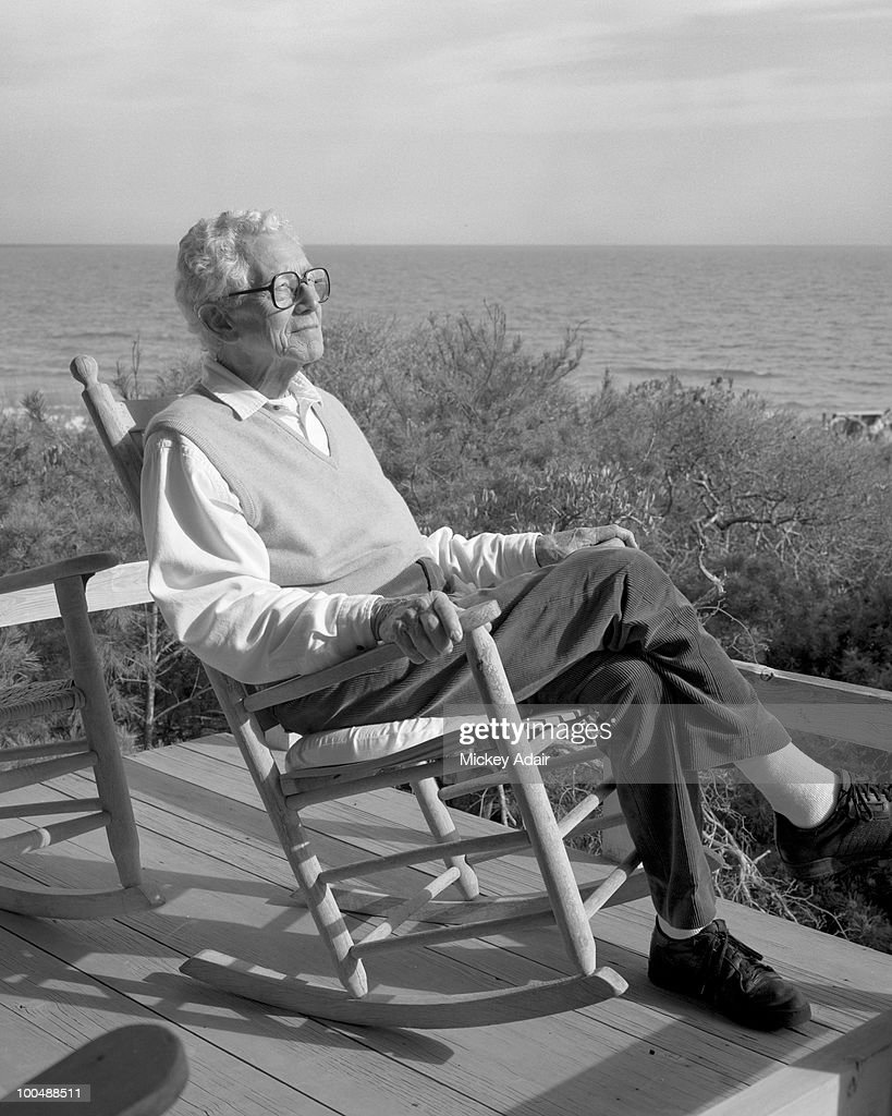 Former Governor LeRoy Collins poses at his beach house in 1990 at Dog Island, Florida.