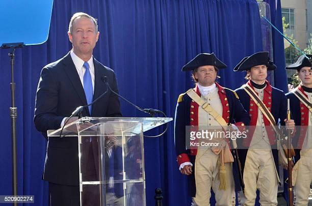 "Former Governor Martin O'Malley speaks during the ""TURN: Washington Spies- DC Key Art Unveiling"" at Kogan Plaza on The George Washington University..."