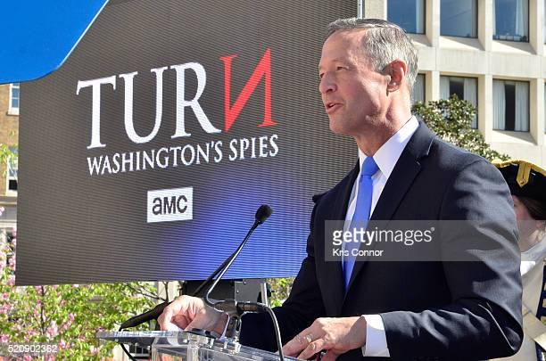 Former Governor Martin O'Malley speaks during the TURN Washington Spies DC Key Art Unveiling at Kogan Plaza on The George Washington University...