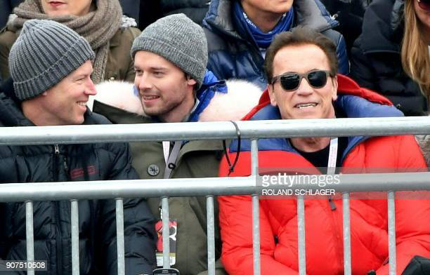 US former Governor of California and actor Arnold Schwarzenegger attends the men's downhill event at the FIS Alpine World Cup in Kitzbuehel Austria...
