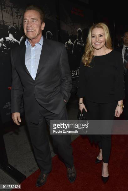 Former Governor of California Arnold Schwarzenegger and Heather Milligan arrive at the premiere of Warner Bros Pictures' 'The 1517 to Paris' at...