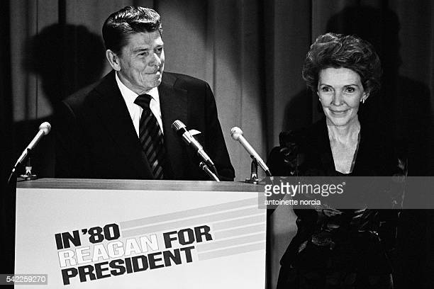 Former Governor of California Ronald Reagan announces his candidacy for the 1980 United States presidential elections, at the Hilton hotel in New...
