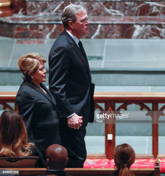 Former Governor of Florida Jeb Bush and his wife Columba Bush arrive to the funeral for his mother former first lady Barbara Bush at St Martin's...
