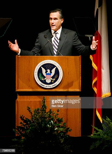 Former Governor of Massachusetts and 2008 Republican Presidential hopeful Mitt Romney speaks at the George HW Bush Presidential Library at Texas AM...