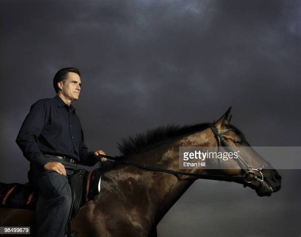 Former Governor of Massachusetts and politician Mitt Romney riding one of his horses at a portrait session for Newsweek Magazine in Massachusetts in...